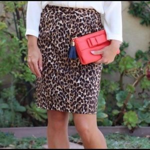 J.Crew Leopard Animal Print Pencil Skirt Size 6